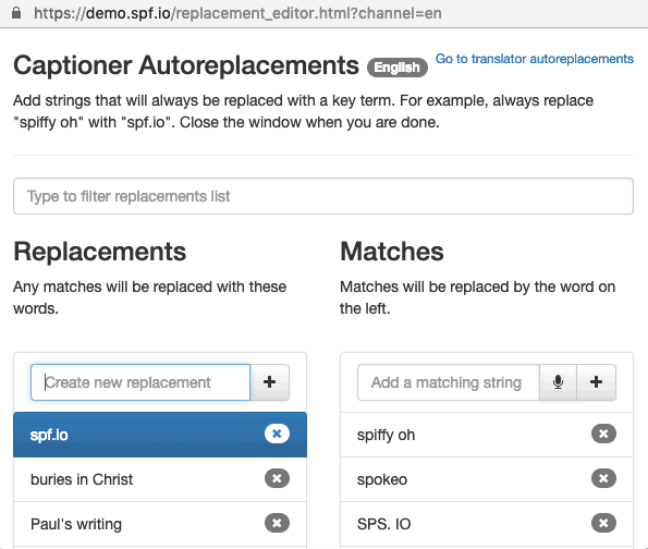 Captioner Autoreplacements screenshot example